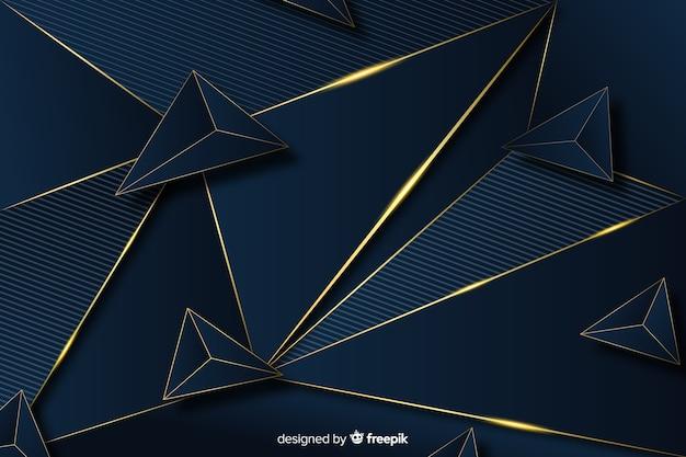 Ciemne tło z złote abstrakcyjne kształty Darmowych Wektorów