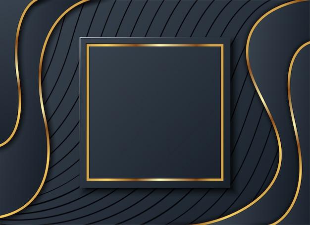 Ciemne Tło Ze Złotym Kwadratem I Cieniem, Premium Wektorów