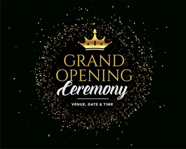 Ciemne zaproszenie grand open golden premium dark Darmowych Wektorów