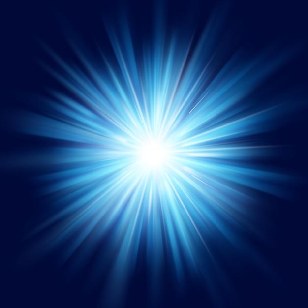 Ciemnoniebieska Poświata Wybuch Gwiazdy Rozbłysk Flary Przezroczysty Efekt świetlny. Premium Wektorów