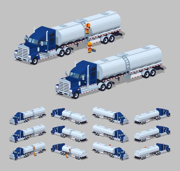 Ciemnoniebieski ciężki izometryczny 3d izometryczny ciężarówki ze zbiornikiem Premium Wektorów