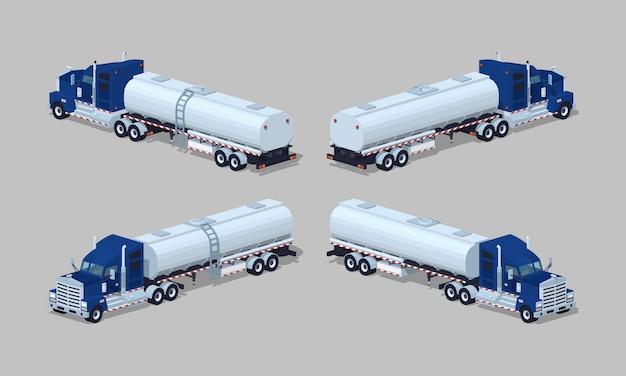 Ciemnoniebieski ciężki izometryczny trójwymiarowy samochód izometryczny z przyczepą-cysterną Premium Wektorów