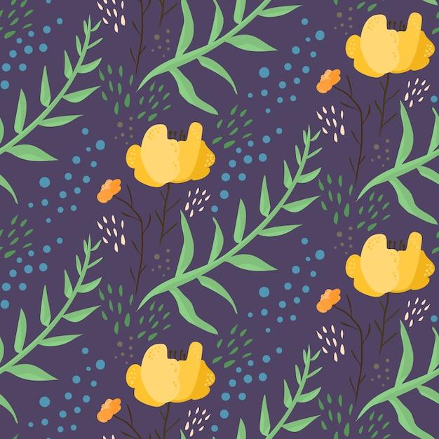 Ciemnoniebieski Wzór Kwiatowy Noc Z Pomarańczowymi Kwiatami Premium Wektorów