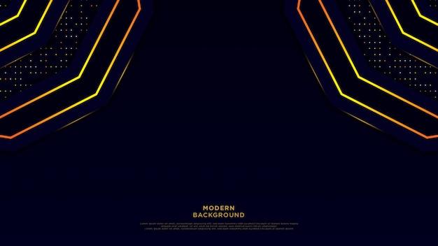 Ciemnoniebieskie streszczenie tło czarne warstwy nakładki. złoty okrąg, błyszcząca linia i złocisty błyskotliwość kropkuje element na luksusowym tło wektorze. Premium Wektorów