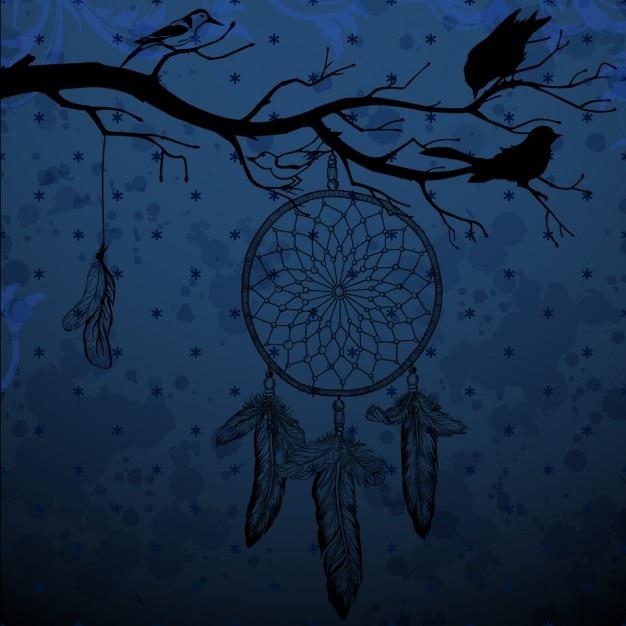 Ciemnoniebieskim Tle Z Dream Catcher I Ptaków Darmowych Wektorów