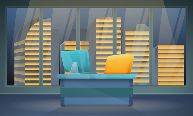 Ciemny Biurowy Pokój Z Krzesłem I Komputerem Z Miasto Widokami, Wektorowa Ilustracja Premium Wektorów