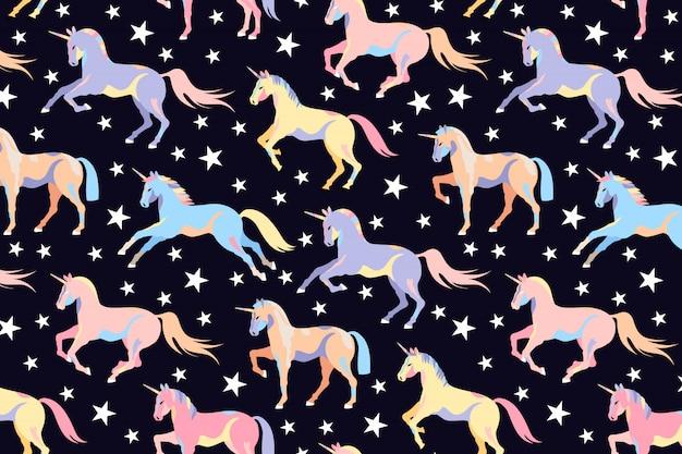 Ciemny Wzór Jednorożca. Jednolity Wzór Jednorożca I Gwiazdy. Piękne Magiczne Konie. Kucyk Ilustracja Dzieci. Uruchamianie Jednorożców. Ręcznie Rysowane Projekt Dla Sieci I Druku. Premium Wektorów