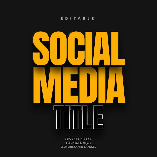 Cień Media Społecznościowe żółty Efekt Tekstowy Edytowalny Premium Premium Wektorów