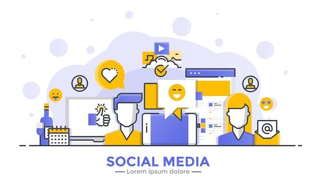 Cienka Linia Gładka Gradientowa Płaska Konstrukcja Banera Mediów Społecznościowych Premium Wektorów