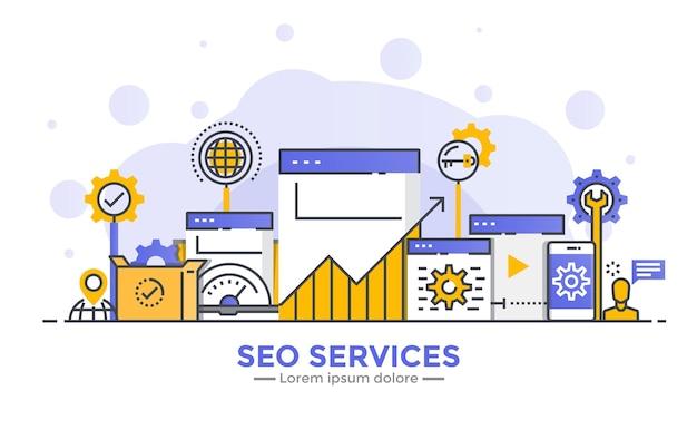 Cienka Linia Gładka Gradientowa Płaska Konstrukcja Banera Usług Seo Premium Wektorów