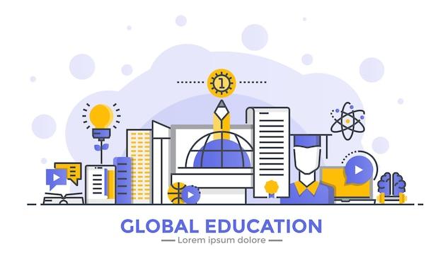 Cienka Linia Gładka Gradientowa Płaska Konstrukcja Transparent Edukacji Globalnej Premium Wektorów