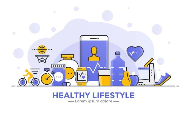 Cienka Linia Gładka Gradientowa Płaska Konstrukcja Transparent Zdrowego Stylu życia Premium Wektorów