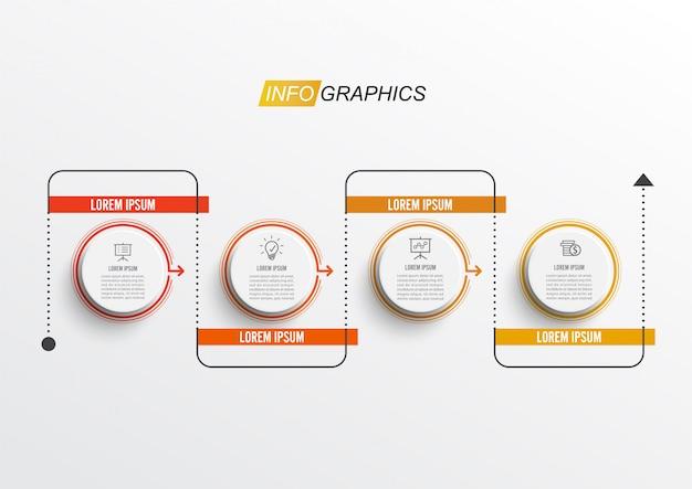 Cienka linia minimalna plansza projekt szablonu z 4 opcjami lub krokami Premium Wektorów