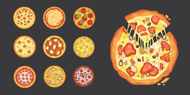 Cienko Pokrojone Pepperoni To Popularna Pizza. Włoska Kuchnia I Dostawa Pizzy. Premium Wektorów