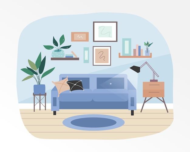Ciepłe I Przytulne Wnętrze Salonu. Uzupełnione Dekoracyjnymi Roślinami I Małymi Meblami. Premium Wektorów