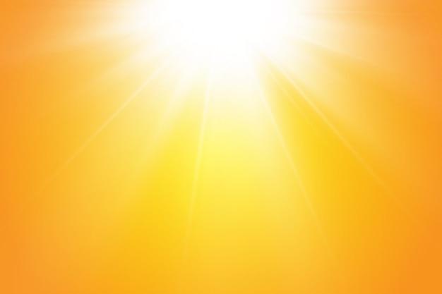 Ciepłe Słońce Na żółtym Tle. Leto.bliki Promienie Słoneczne. Premium Wektorów