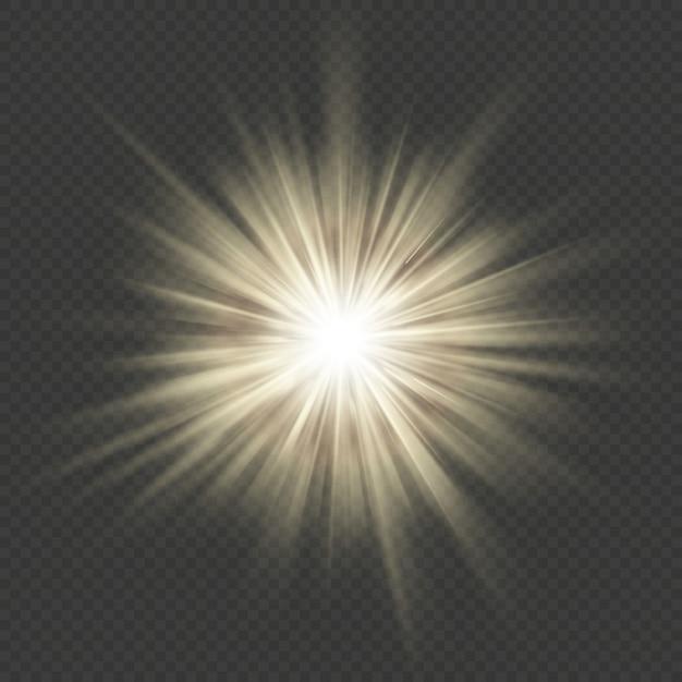 Ciepły Blask Wybuch Gwiazdy Rozbłysk Wybuch Efekt Przezroczystego światła. Premium Wektorów
