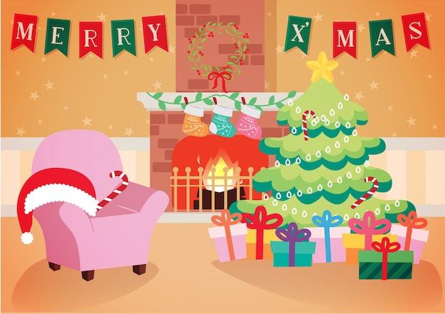 Ciepły Salon Z Bożego Narodzenia Ozdoba Tło Wektor Premium Wektorów
