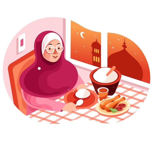 Ciesz Się Posiłkiem Iftar W Ramadan Illustration Premium Wektorów