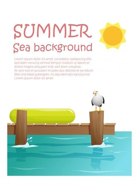 Ciesz się tropikalnymi wakacjami w tle Premium Wektorów