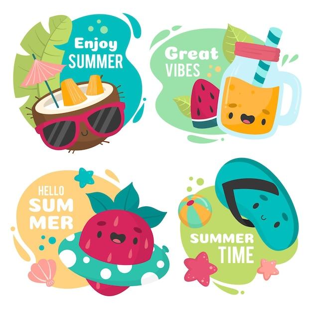 Ciesz Się Wspaniałą Atmosferą W Letnich Odznakach Darmowych Wektorów