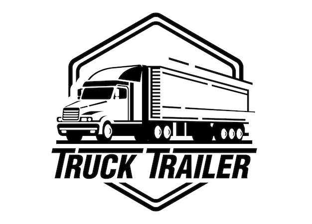 Ciężarowa przyczepa loga ilustracja na białym tle Premium Wektorów