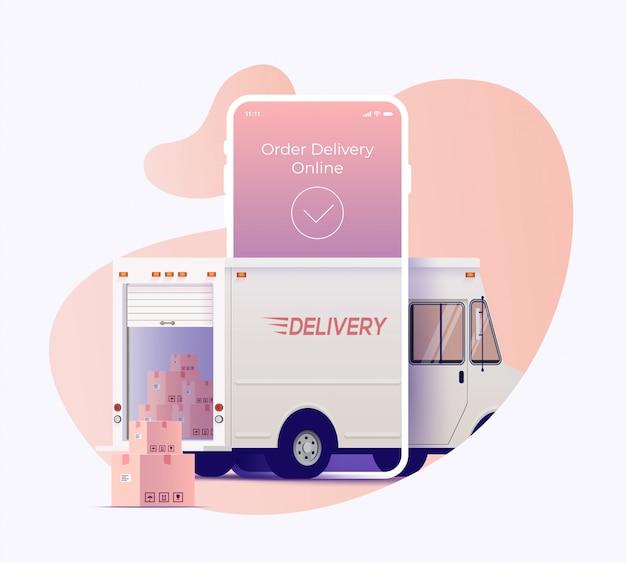 Ciężarówka Dostawcza Przybywa Poprzez Ekran Smartfona Z Otwartym Bagażnikiem I Paczkami Na Zewnątrz. Zamów I śledź Dostawę Koncepcji Projektu Banera Usługi Online. Ilustracja. Premium Wektorów