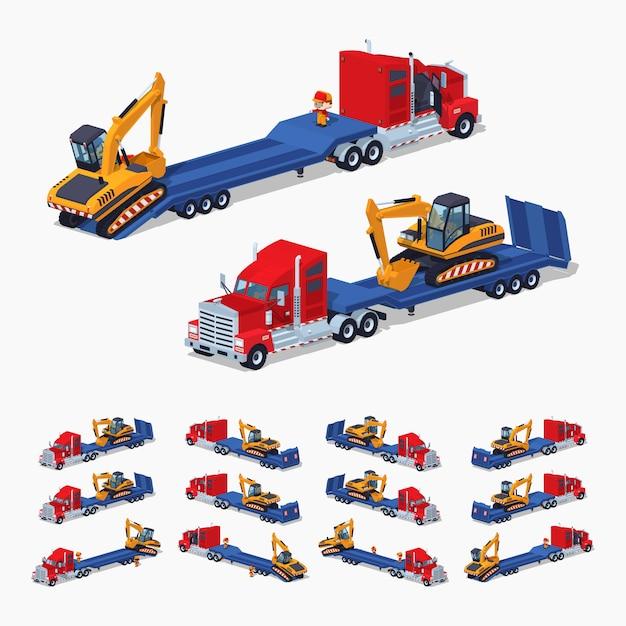 Ciężarówka izometryczna 3d lowpoly z koparką na przyczepie Premium Wektorów