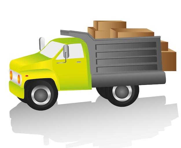 Ciężarówka ładowana Z Pola Dla Ilustracji Wektorowych Dostaw Premium Wektorów