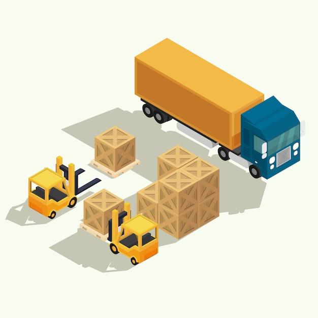 Ciężarówka logistyczna i kontener transportowy z wózkiem widłowym podnoszącym kontener towarowy w stoczni wysyłkowej. izometryczny wektor ilustracja Premium Wektorów