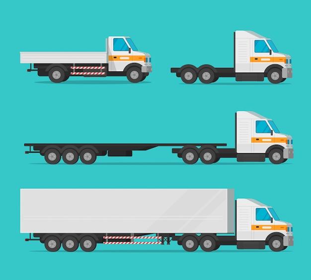 Ciężarówka lub ładunek ciężarówka i dostawa samochodów lub towarowego przemysłu pojazdu wektor zestaw płaski kreskówka clipart Premium Wektorów