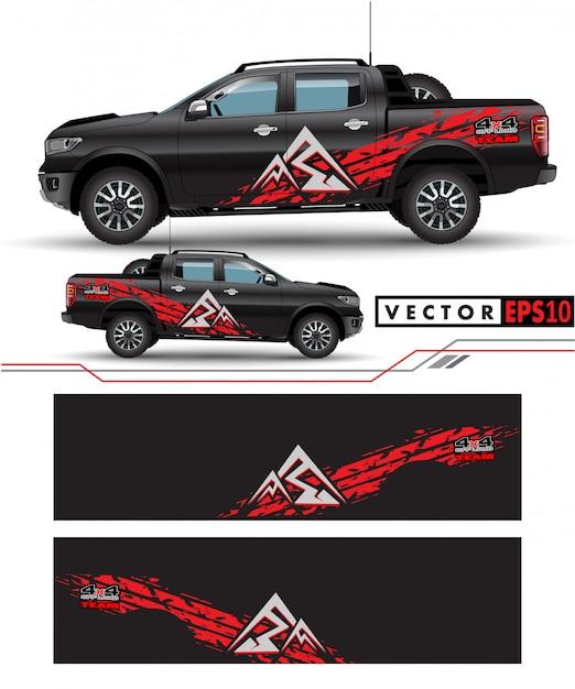 Ciężarówka naklejka wektor projektowania. Premium Wektorów