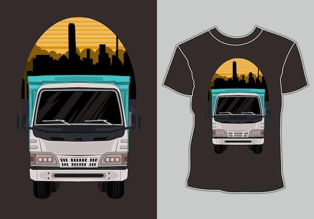 Ciężarówka T Shirt Z Ciężarówką Grafiki W Mieście Premium Wektorów