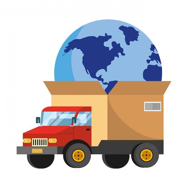 Ciężarówka Z Dużym Pudełkiem Na Tylnej Ilustracji Premium Wektorów