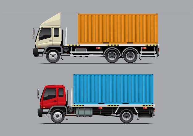 Ciężarówka z kontenerem z platformą Premium Wektorów