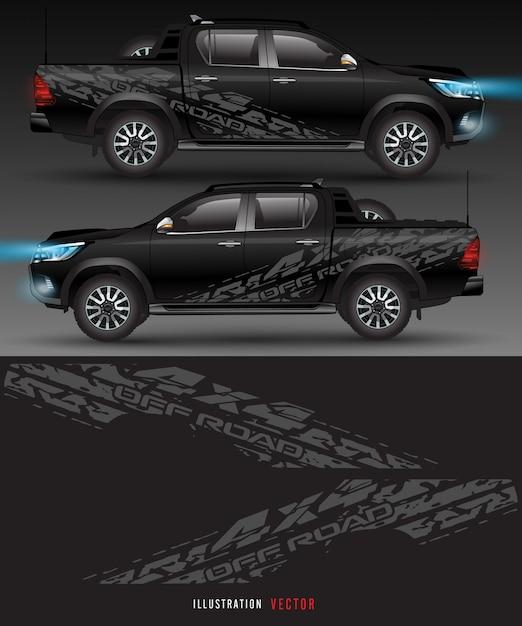 Ciężarówka Z Napędem Na 4 Koła I Grafika Samochodowa. Abstrakcyjne Linie Z Białym Tłem Dla Pojazdu Premium Wektorów