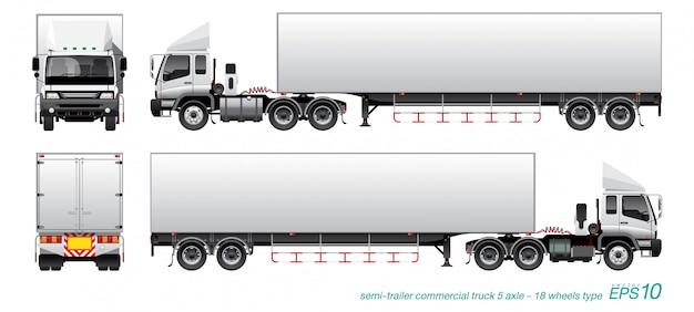 Ciężarówka z przyczepą Premium Wektorów