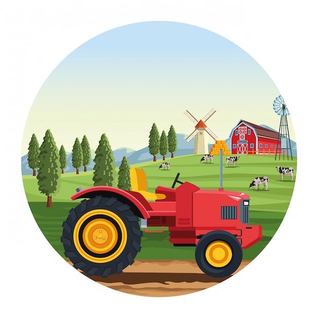 Ciężarówka Z Stajni I Wiatraczka Round Ilustracją Premium Wektorów
