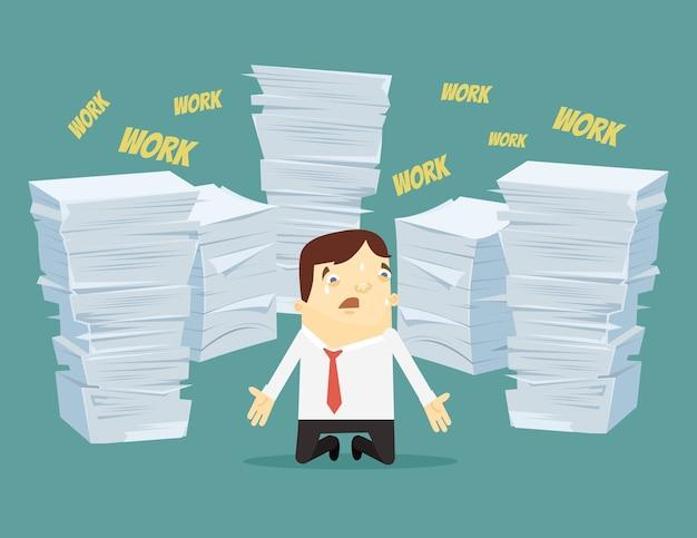 Ciężka Praca. Człowiek Zajęty Płacze I Krzyczy. Premium Wektorów