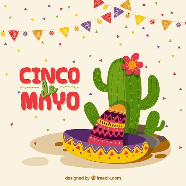 Cinco de mayo tło z kaktusem Darmowych Wektorów