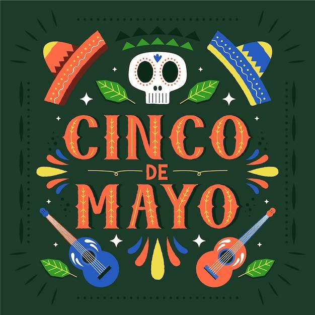 Cinco De Mayo Z Czaszką I Czapkami Darmowych Wektorów