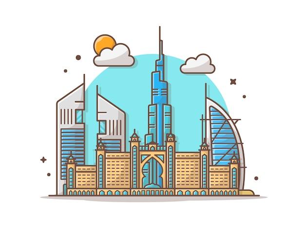 City Dubai Skyline Vector Clipart Ilustracji Premium Wektorów