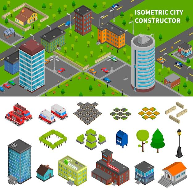 City izometryczne banery izometryczne Darmowych Wektorów