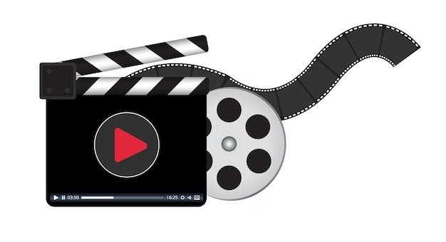 Clapperboard Z Logo Przesyłania Strumieniowego Wideo Premium Wektorów