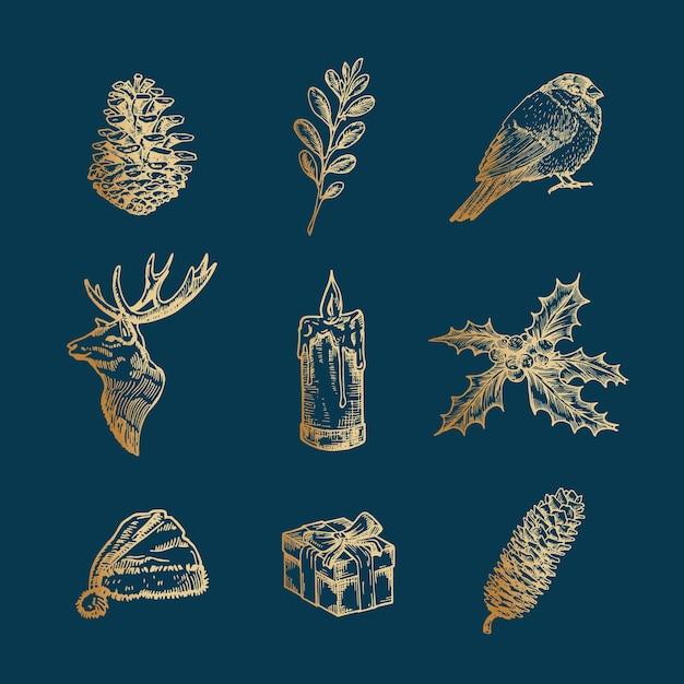 Classy Wesołych świąt I Szczęśliwego Nowego Roku Streszczenie Znaki, Etykiety Lub Zestaw Ikon. Premium Wektorów