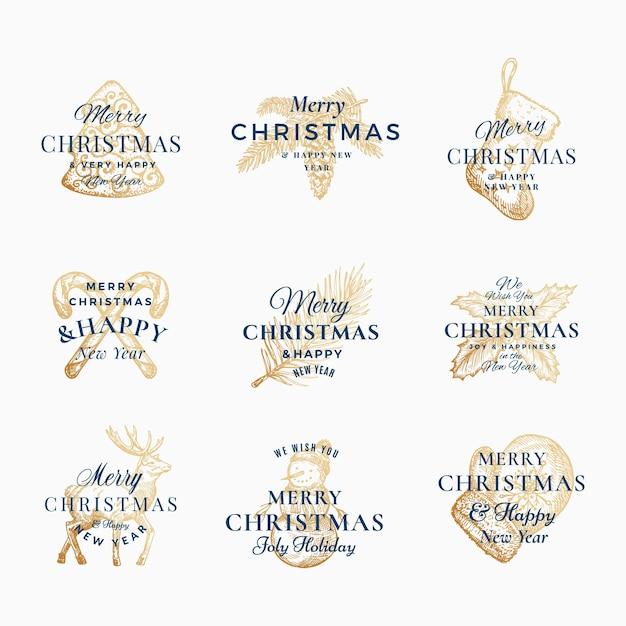 Classy Wesołych świąt I Szczęśliwego Nowego Roku Streszczenie Znaki, Etykiety Lub Zestaw Szablonów Logo. Darmowych Wektorów