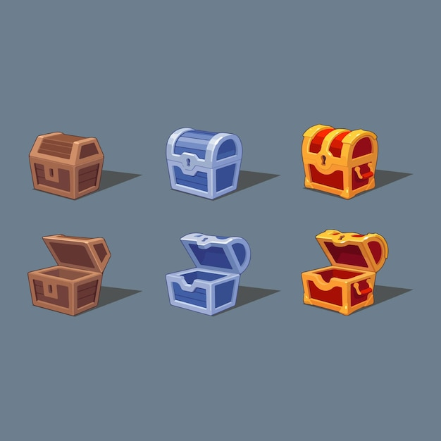 Clipartów Ilustracji Pudełko Skarbów Premium Wektorów