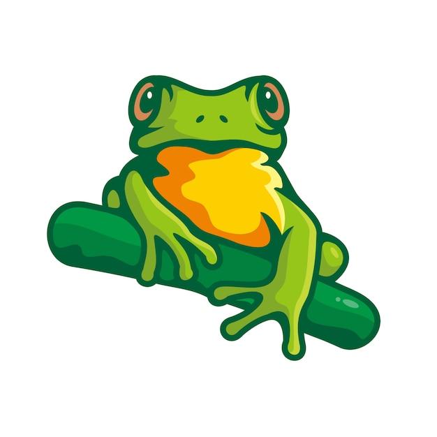 Clipartów Zielona żaba Na Białym Tle Premium Wektorów