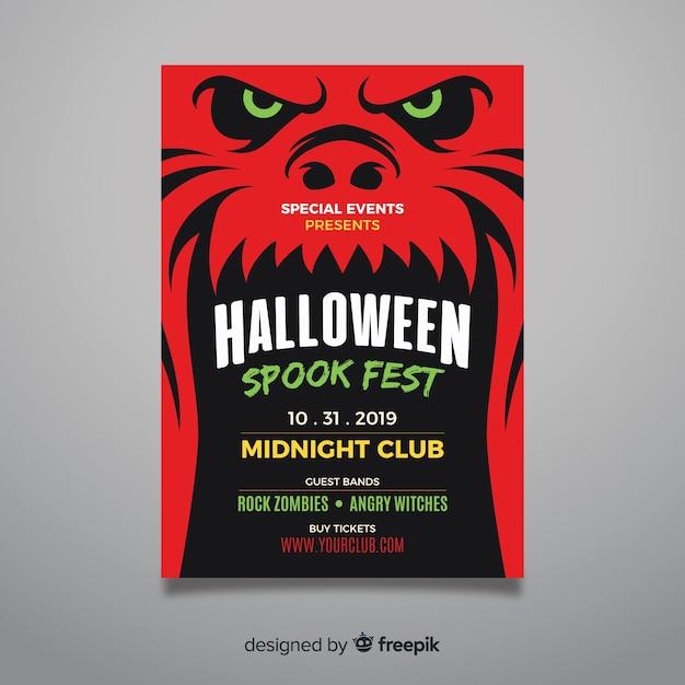 Close-up Czerwony Potwór Twarz Halloween Party Ulotki Darmowych Wektorów