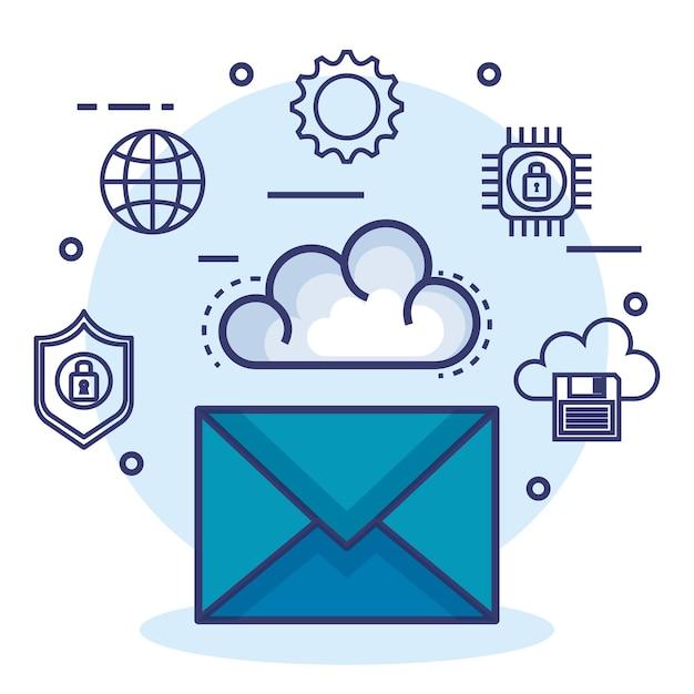 Cloud Computing Ustawić Płaskie Ikony Premium Wektorów